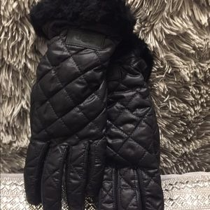 UGG fur lined quilted gloves